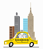 Happy woman in yellow cab in New York City, illustration
