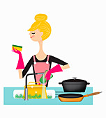 Woman washing pans in kitchen sink, illustration