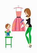 Mother cleaning daughter's scribbles off dress, illustration