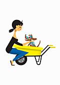 Woman washing dog in wheelbarrow, illustration