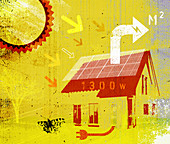 Sun's rays on solar panels, illustration