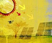 Sun's rays pointing at solar panels, illustration