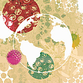 Globe surrounded by bacteria and viruses, illustration