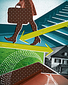 Businesswoman walking away from home, illustration