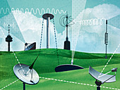 Variety of antennas and satellite dishes, illustration