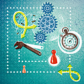 Game pieces, stopwatch and busy bees, illustration