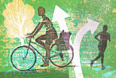 Healthy lifestyle women running and cycling, illustration