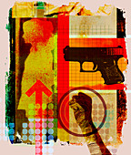 Collage of woman's silhouette and gun, illustration