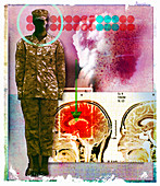 Image of inflamed brain next to soldier, illustration