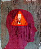 Exclamation point warning sign inside head, illustration