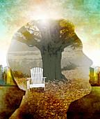 Rural scene inside of man's head, illustration