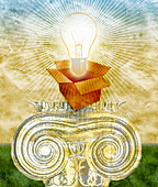 Glowing bulb in open box on top of pedestal, illustration