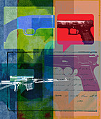 Variety of guns in speech bubbles, illustration