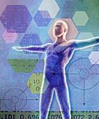 Data analysis and hexagon pattern, illustration