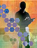 Man using tablet computer, illustration