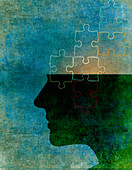 Jigsaw puzzle pieces inside of man's head, illustration
