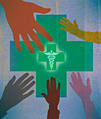 Hands reaching for caduceus symbol on cross, illustration
