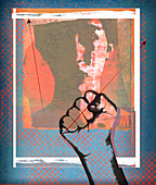 Threatening fist over woman's face, illustration