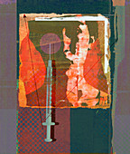 Syringe over image of woman's face, illustration