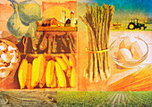 Farming and fresh agricultural produce, illustration