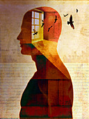 Introspective man with birds inside of head, illustration