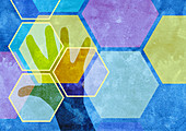Hexagonal pattern over man's hand, illustration