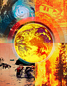Climate change and environmental disasters, illustration