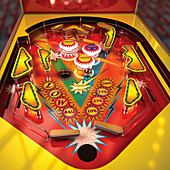 Close up of brightly coloured pinball machine, illustration