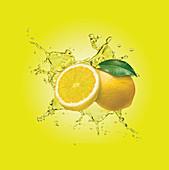 Water splashing around lemons, illustration