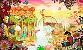 Abundant colourful tropical jungle at sunrise, illustration