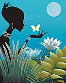Woman wearing diamonds holding butterfly, illustration
