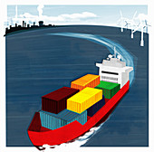 Container ship at sea, illustration