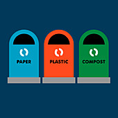 Paper, plastic and compost recycling bins, illustration