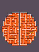 Businessman with torch lost in brain maze, illustration