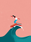 Young girl surfing on book surfboard, illustration