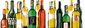 Various wine bottles, illustration