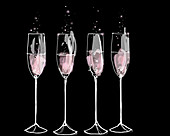 Pink champagne flutes in a row, illustration