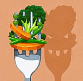 Close up of lots of vegetables on fork, illustration