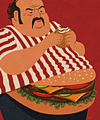 Overweight man with cheeseburger stomach, illustration