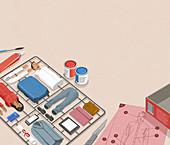 Model assembly kit for successful businessman, illustration