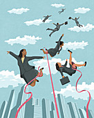 Businesswomen tied up and held back, illustration