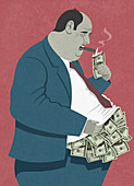 Overweight businessman lighting cigar dollars, illustration