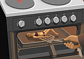 Hand with spatula lifting woman inside oven, illustration