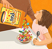 Mother pouring sweets into breakfast bowl, illustration