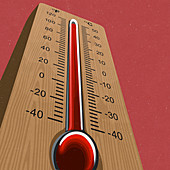 Thermometer at high temperature, illustration