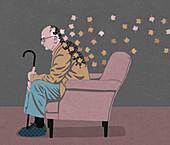 Elderly man disintegrating into autumn leaves, illustration