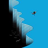Man rowing towards edge of chart cliff, illustration