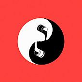 Paint forming yin and yang symbol, illustration