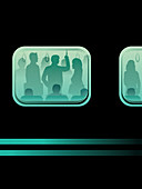 Commuters on crowded train in rush hour, illustration