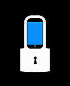Smart phone with padlock, illustration